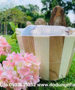 set dụng cụ tắm bằng gỗ